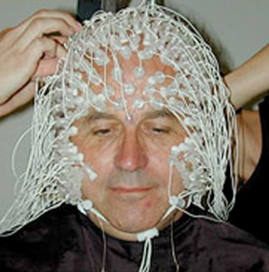 TIbetan Buddhist Matthieu Ricard wired for neurological studies.