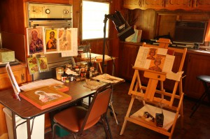 The icon-painting studio at St. Isaac of Syria Skete (Lori Erickson photo).