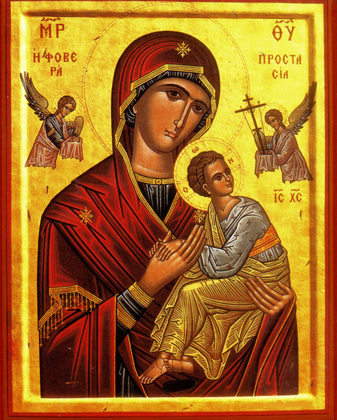 This icon of the Virgin Mary and Jesus is one of thousands produced by St. Isaac of Syria Skete.