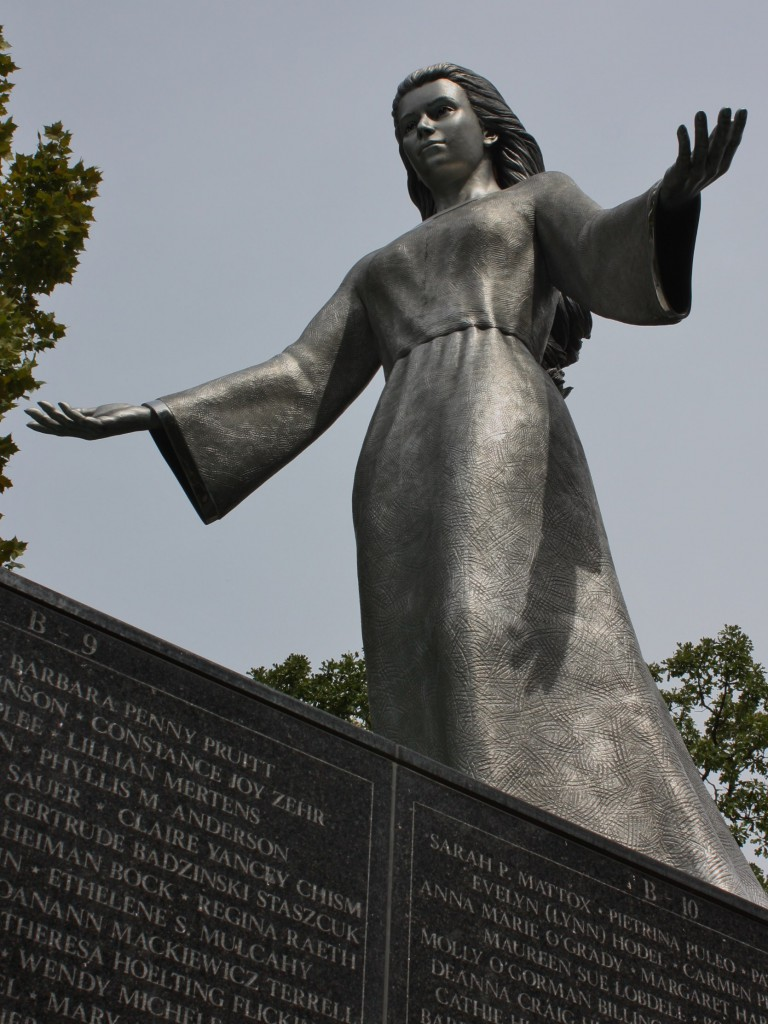 The 14-foot statue of Mary is made of stainless steel and was sculpted by Don Wiegand. (Lori Erickson photo)