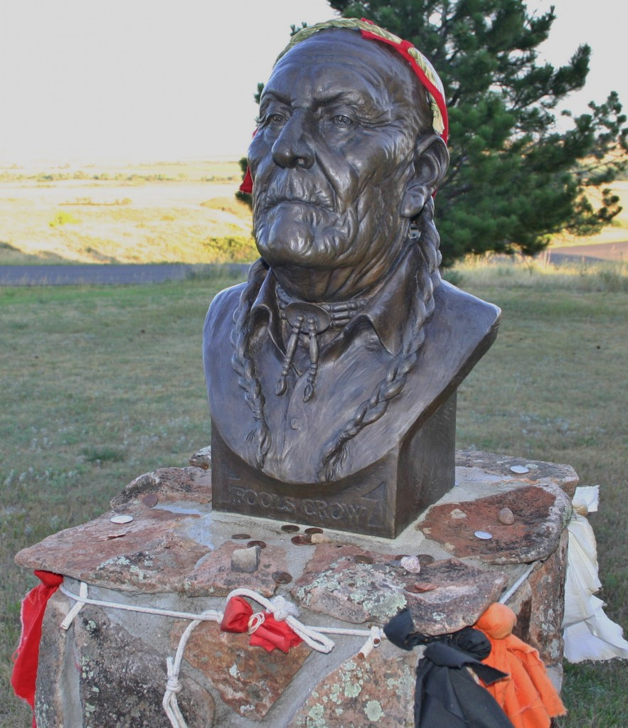 Lakota leader Frank Fools Crow is honored by this bust outside the Visitor Center at Bear Butte State Park (Bob Sessions photo).