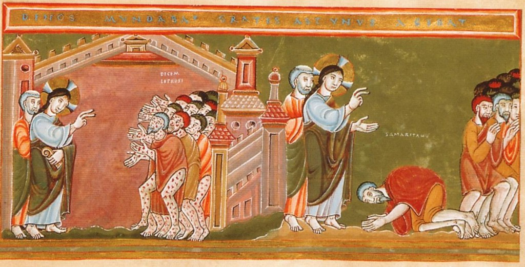 Cleansing of the Ten Lepers from the Codex Aureus Epternacensis (WIkimedia Commons image)