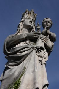 A 50-foot tall statue of Mary and a young Jesus overlooks the city of Leuven. (Bob Sessions photo)