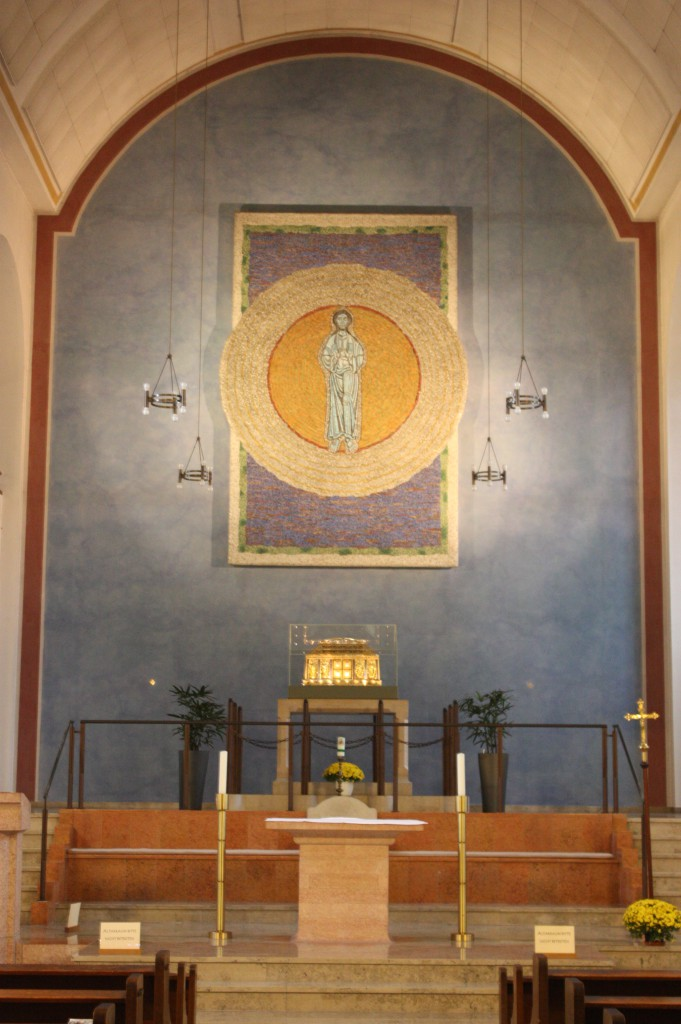 The Parish and Pilgrim Church of St. Hildegard features a mosaic of her vision of the Holy Trinity. (Bob Sessions photo)