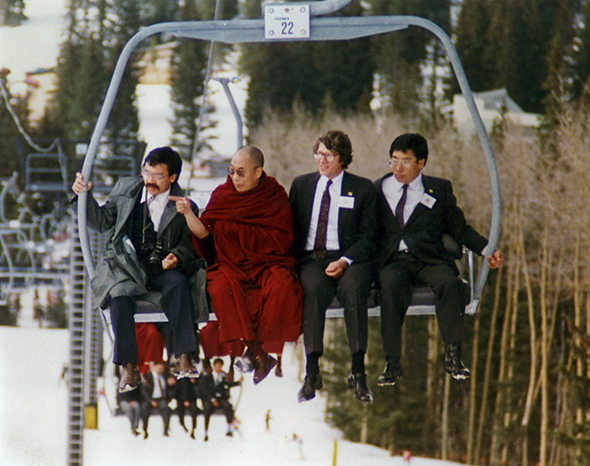 The Dalai Lama on a chairlift in the mountains of New Mexico, April 1991. (photo courtesy of Bob Shaw)
