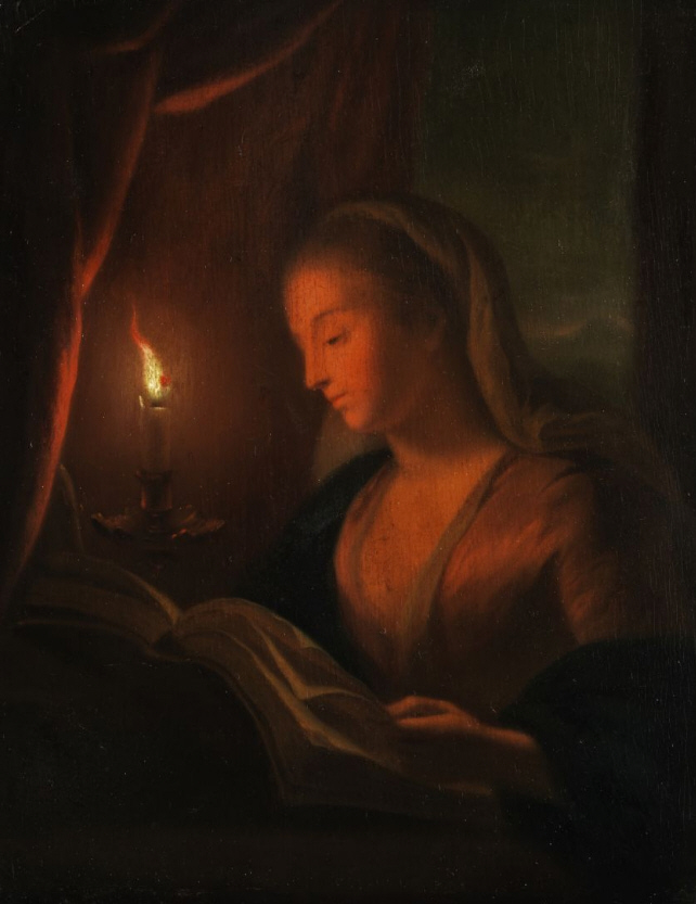 Young woman reading (in the style of Petrus van Schendel) by anonymous (Wikimedia Commons image)